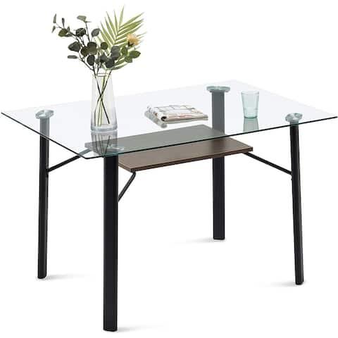 Glass Dining Table Modern Rectangular Kitchen Table