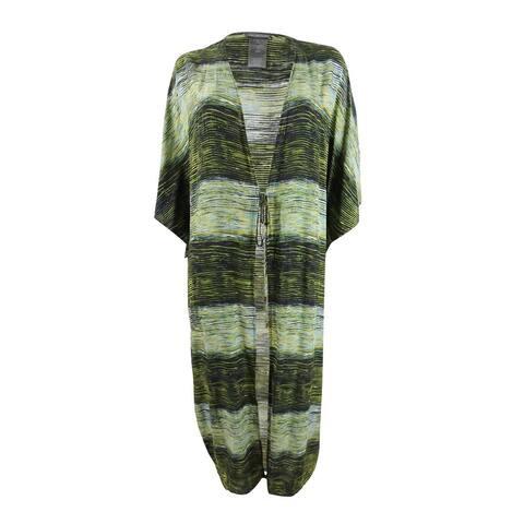 Vince Camuto Women's Waves Printed Midi Kimono Swim Top Cover-Up - Deep Sea