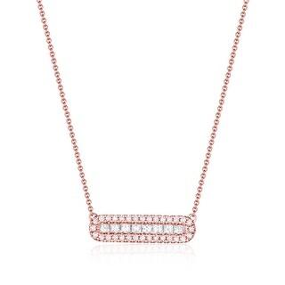 Fabulolus 0.56Ct Round/Princess Cut G-H/SI1 White Diamond Necklace