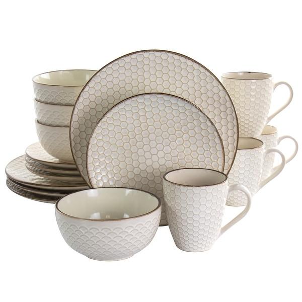 Elama Honey Ivory 16 Piece Stoneware Dinnerware Set in Ivory