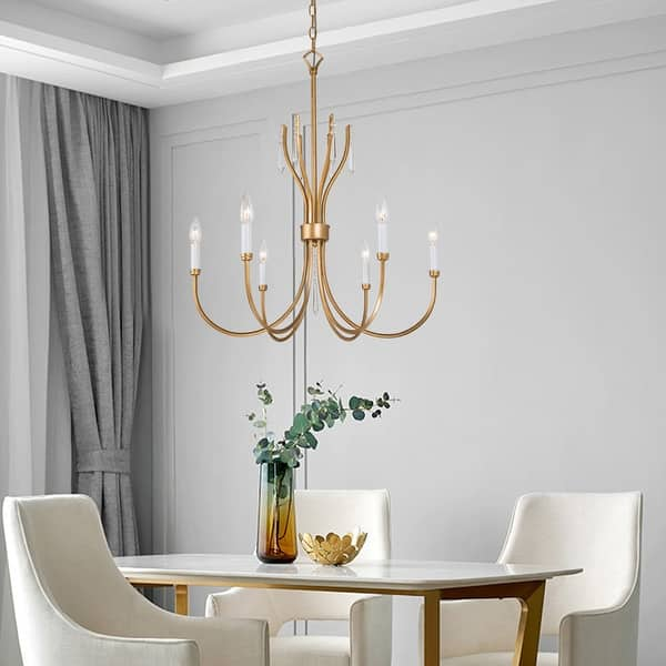 Gold 6-light French Candle Crystal Chandelier for Dining Room - Overstock -  32826557