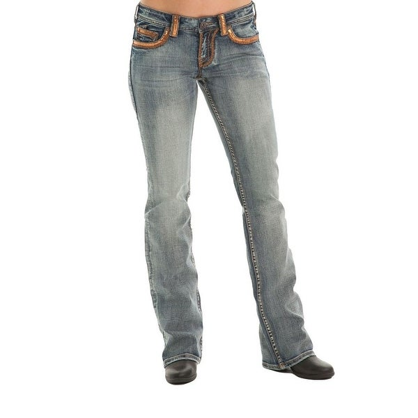 f9a7f784aa6f2 Shop Cowgirl Tuff Western Denim Jeans Womens Gold Dust Sequins Med ...