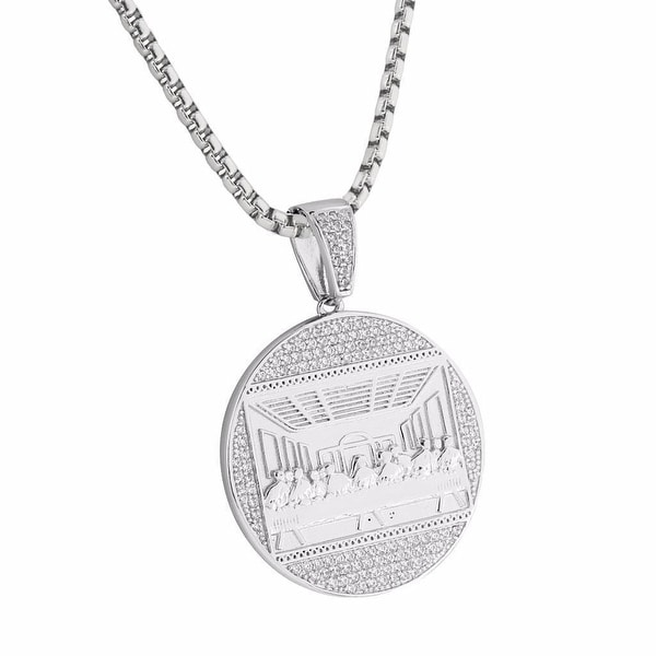 Last Supper Of Christ Pendant Silver Tone Charm 24 Inch Necklace Stainless Steel