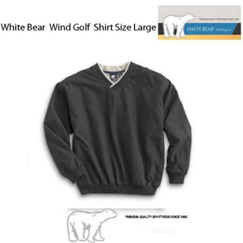 White Bear Golf Wind Shirt (Large), Black