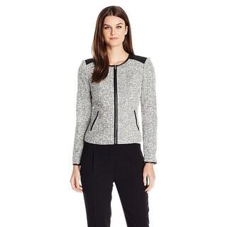 Calvin Klein Petite Boucle Zip Front Blazer Jacket - 14P
