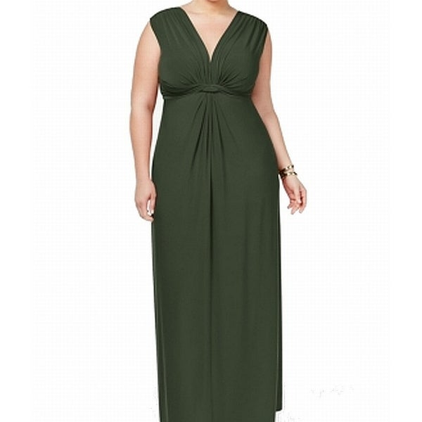 Love Squared Greens Womens Size 1X Plus Stretch Knotted Maxi Dress