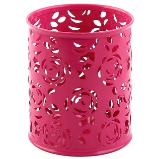Metal Round Shaped Hollow Rose Pattern Pencil Container Pen Pot Holder Fuchsia