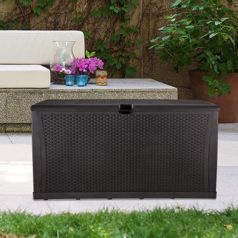 Ainfox Patio Storage Deck Box Outdoor Storage Bench Box