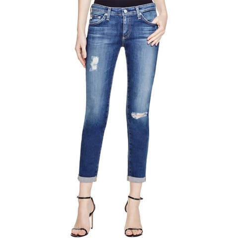 Adriano Goldschmied Womens Stilt Roll-Up Cigarette Jeans Cuffed Mid-Rise