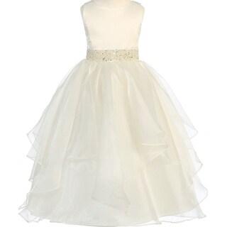 Flower Girl Dress Asymmetric Ruffles Satin & Organza Ivory CB 302