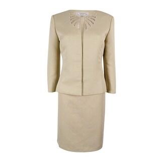 Tahari ASL Women's Mesh-Trim Skirt Suit - SAND - 6
