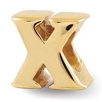 Sterling Silver Reflections Gold-plated Letter X Bead (4mm Diameter Hole)