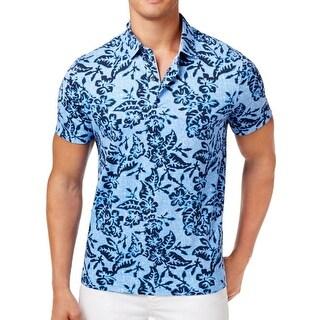 Tommy Hilfiger Navy Blue Mens Size 2XL Custom Fit Hawaiian Shirt