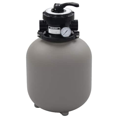 "vidaXL Pool Sand Filter with 4 Position Valve Gray 1.4"" Pool Filter"