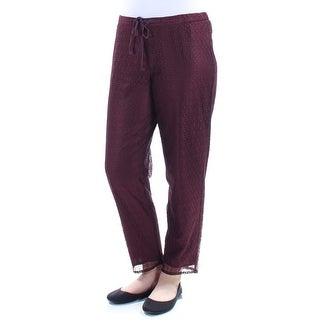 ANNE KLEIN $99 Womens New 1381 Burgundy Floral Lace Wear To Work Pants 4 B+B