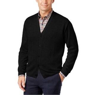 Weatherproof Black Mens Size XL Button Down Cardigan Sweater