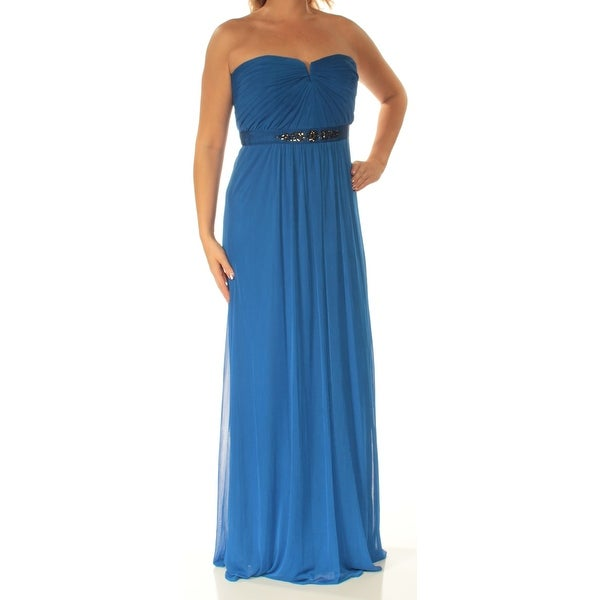 Shop ADRIANNA PAPELL Womens Blue Embellished Strapless Full-Length Sheath Prom  Dress Size  18 - Free Shipping Today - Overstock - 24083499 efc6b1296dad