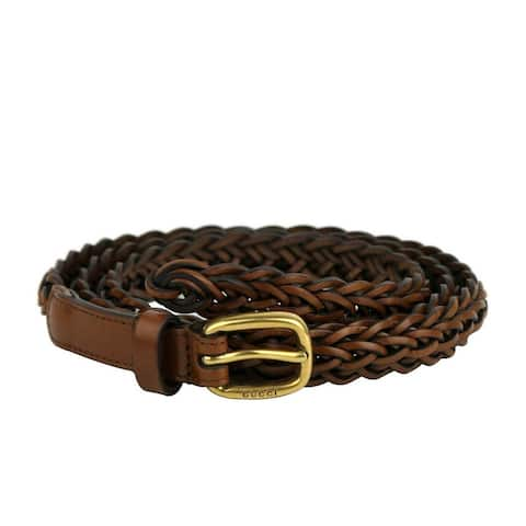 Gucci Women's Brown Braided Leather with Gold Buckle Belt 380607 2535 (85 / 34)