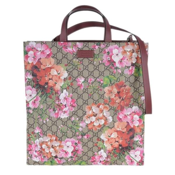 e4fa249b497 Gucci Women  x27 s 450950 GG Supreme Blooms Floral Crossbody Purse Tote -  Beige