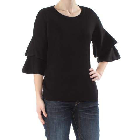 NY COLLECTION Womens Black Bell Sleeve Scoop Neck Sweater Size: S