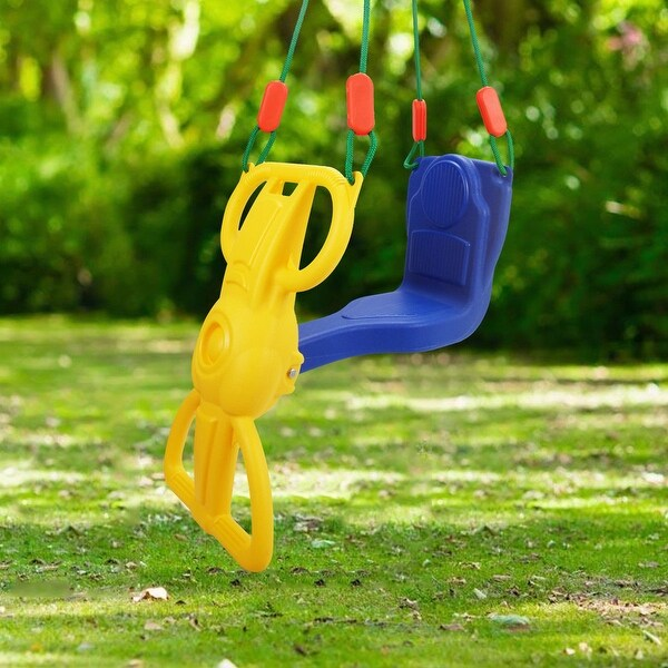 Costway Rider Swing with Hangers Glider Swing Seat Kids Children Playground Backyard - as pic