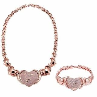 "Rose Gold Tone Heart XOXO Link 20"" Necklace Bracelet Pink Lab Diamonds"