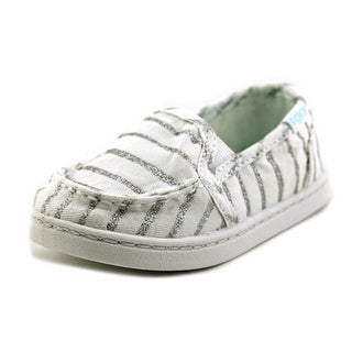 Roxy Lido III Toddler Round Toe Canvas White Loafer