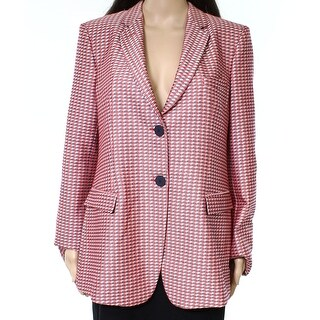 Armani Collezioni Red Womens Size 12 Jacquard Geometric Jacket