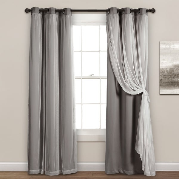 Lush Decor Grommet Sheer Panels with Insulated Blackout Lining. Opens flyout.