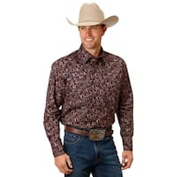 Roper Western Shirt Mens Paisley L/S Snap Purple