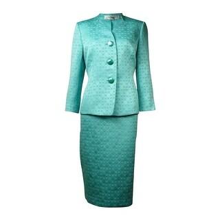 Le Suit Women's The Hamptons Jacquard Circles Skirt Suit