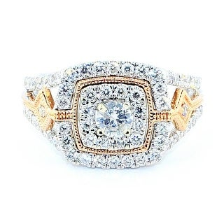0.9cttw Diamond Bridal Wedding Ring Rose And White Gold 10K 12mm Wide Vintage Two Tone