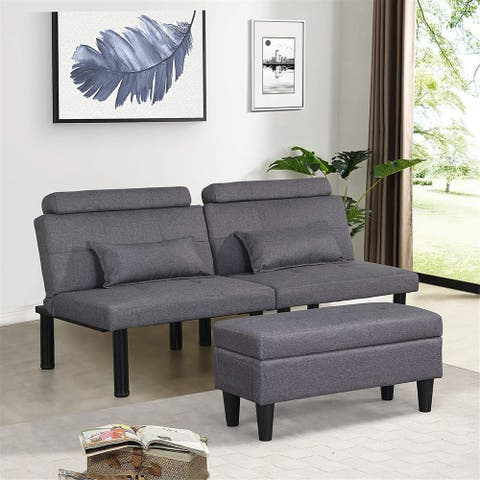 Futon Sofa Bed Couch and Sleeper with Storage Ottoman Footstool or Coffee Table and 2 Lumbar Pillows,Small, Metal Leg, Linen