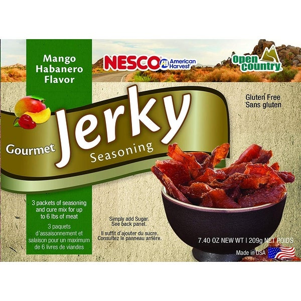 Nesco BJJ-6 Gourmet Jerky Seasonings, Mango Habanero, Includes 3 Seasoning and 3 Cure Packets. Opens flyout.