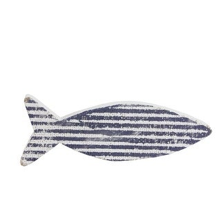 "8"" Cape Cod Inspired Table Top White and Blue Striped Fish Decoration - N/A"