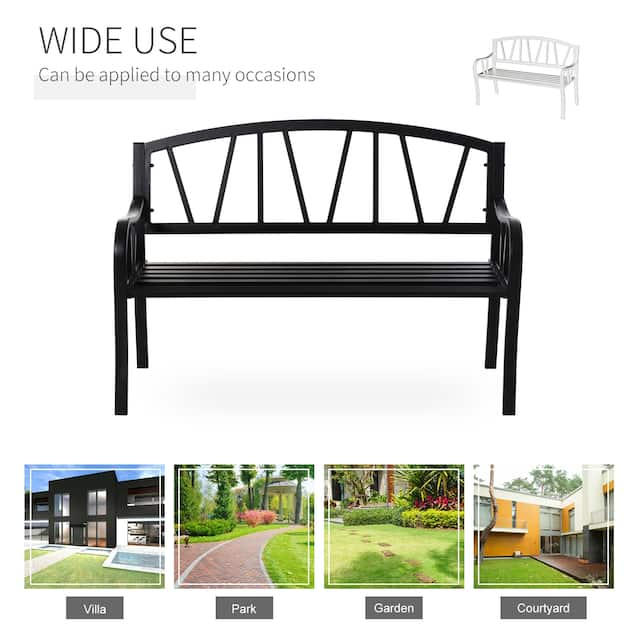 Outsunny 2-Seater Garden Bench Solid Metal Loveseat Outdoor Furniture for Patio w/ Decorative Backrest & Ergonomic Armrest