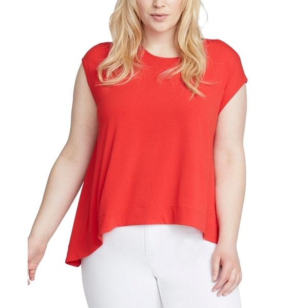 RACHEL RACHEL ROY Red Women's Size 3X Plus Cap Sleeve Blouse
