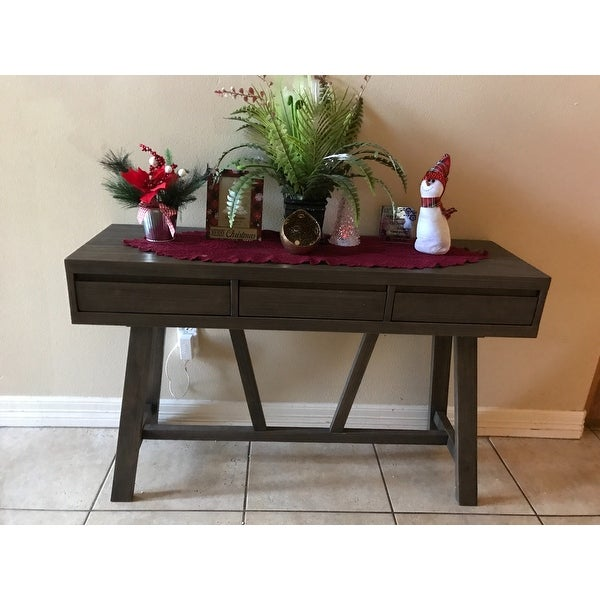 Shop WYNDENHALL Stewart Driftwood Finish Hallway Console Table   On Sale    Free Shipping Today   Overstock.com   13525167