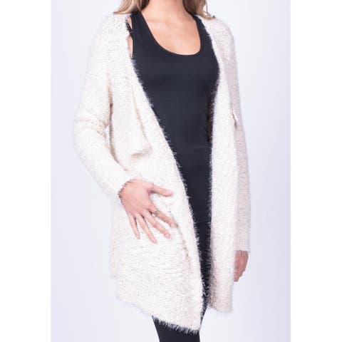 RD Style Women's White Size Small S Textured Open Cardigan Sweater
