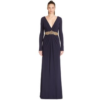Badgley Mischka Couture Embellished V-Neck Evening Gown Dress