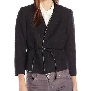 Nine West NEW Black Women's Size 10 Textured Belted Open Jacket