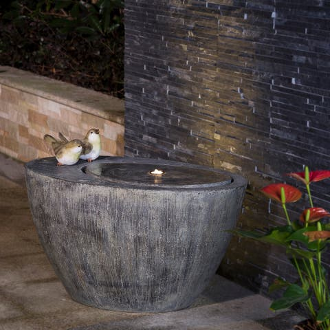 "Glitzhome 25""L Polyresin Spring Birds Outdoor Fountain With LED Light"