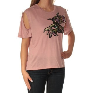 BUFFALO $69 Womens New 1123 Pink Cold Shoulder Sequined Short Sleeve Top S B+B