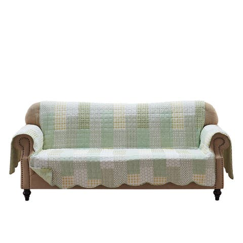 Fabric Sofa Protector with Geometric Pattern Motif and Elastic Strap,Green