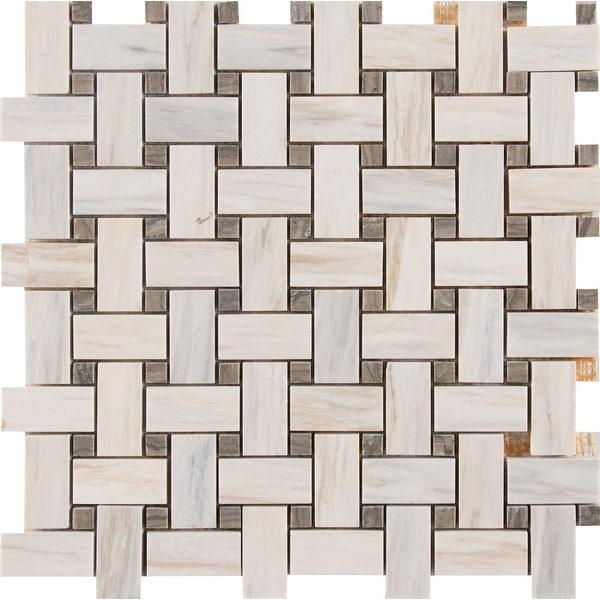 "MSI SMOT-BWP10MM Angora - 12"" x 12"" Basketweave Mosaic Sheet - Polished Marble Visual - Sold by Carton (10 SF/Carton) - Beige"