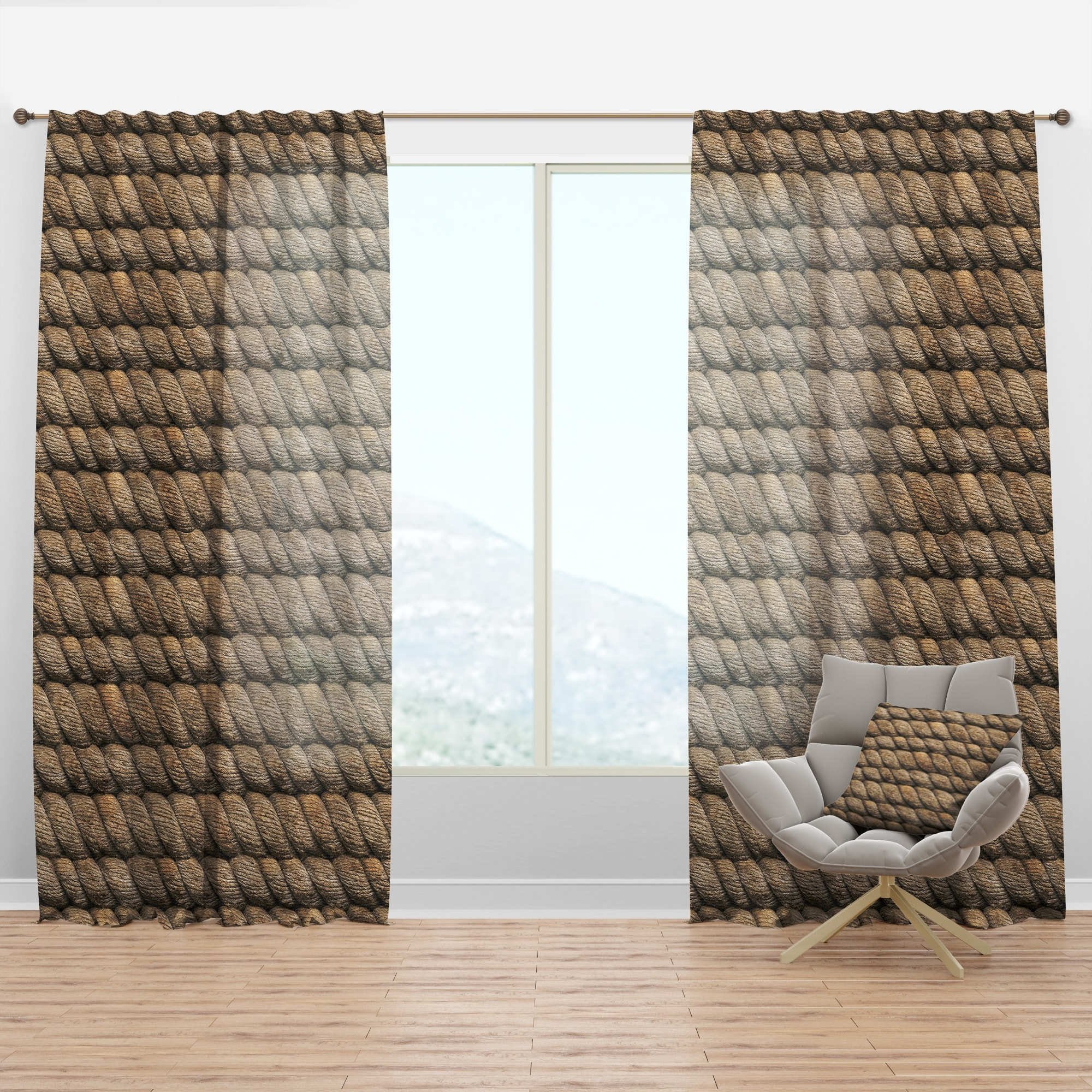 Designart Hemp Rope Farmhouse Curtain Panel On Sale Overstock 29625127