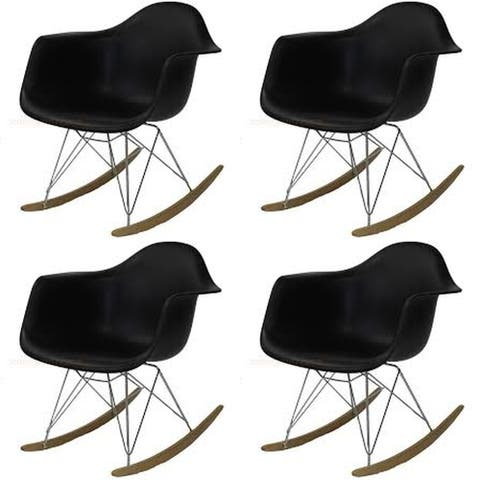 Kids Eiffel Rocker Dining Chair with Wooden Base - Black (set of Four)