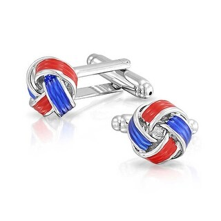 Bling Jewelry Stainless Steel Plated Mens Red and Blue Enamel Love Knot Cufflinks