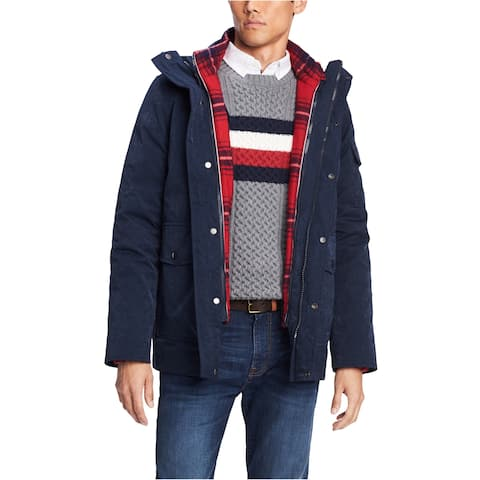 Tommy Hilfiger Mens Hooded Plaid Jacket
