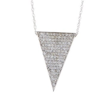 14k Gold White Diamond Down Triangle Pendant with Chain